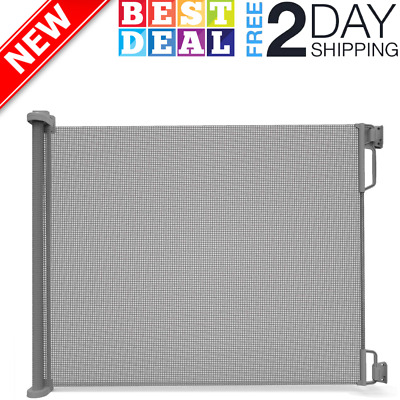 """Extra Wide Outdoor Retractable Baby Gate Extra Wide up to 71"""" Wide Gray NEW"""