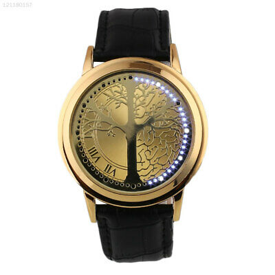 Life Tree Glass Mirror for Lovers Touch Quartz Watch Gold+Gold Romantic Dial