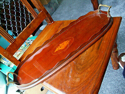 Edwardian Mahogany Inlaid Oval Shaped Tray, with shaped gallery & Brass handles