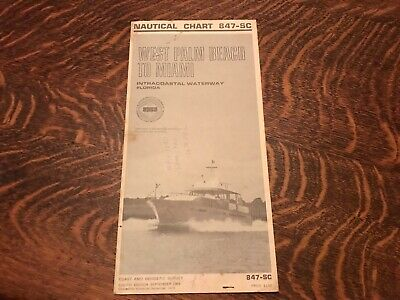 1970 Nautical Chart, West Palm Beach To Miami, Intracoastal Waterway