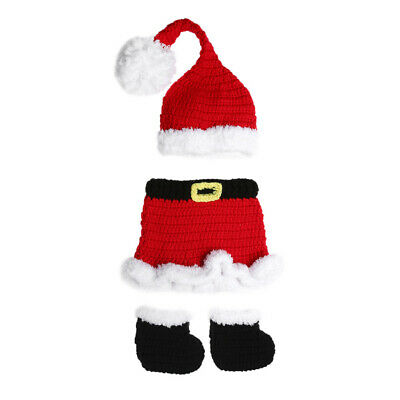 3pcs Newborn Baby Infant Crochet Knit Xmas Santa Costume Photography Props #gib