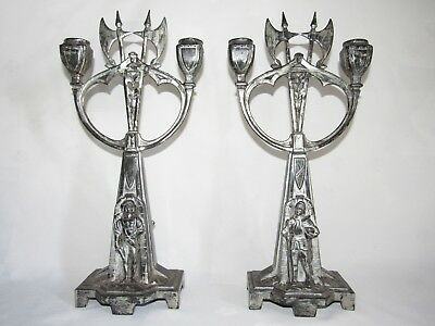 10E27 Pair Antique Candle Holders Candlesticks Regulated Style Knight Middle Age