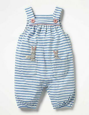 Mini Boden Girls Cotton Jersey Dungarees, Blue Stripe Bunny