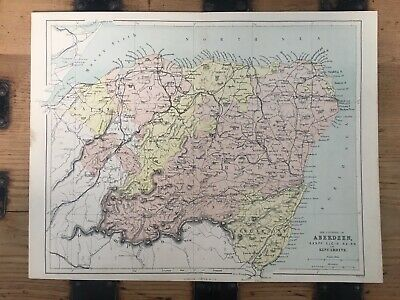 Original Antique Victorian Map Aberdeen, Banff, Elgin, Nairn And Kincardine 1850