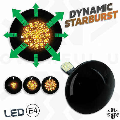 Dynamic starburst LED Smoked SIDE REPEATERS wing Indicators fits RangeRover L322