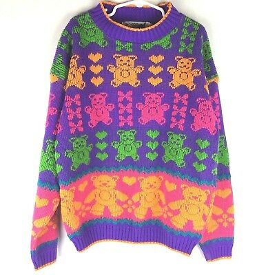 Vintage Can You Keep A Secret Girls M 10-12 Sweater Pullover Bears Purple