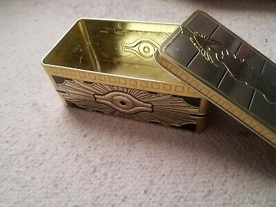 "Yugioh! 2019 Mega Tin! Gold Sarcophagus Tin! ""Empty Opened"" Collectable Tin!"