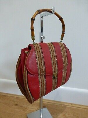 Vintage 50s red leather striped bamboo cane handle top bag VGC smart event