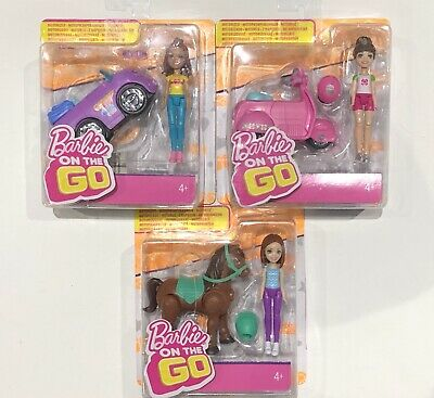 Barbie On The Go - Set Of 3 Playsets - Motorized Pony, Scooter & Car...