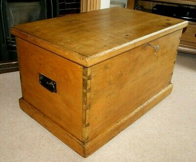 A Lovely Victorian Pine Dovetailed Blanket Box + Key, Coffee Table, Storage