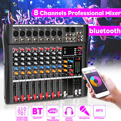 8 Channels Professional Live Studio Audio Mixer bluetooth USB Mixing Console Hot