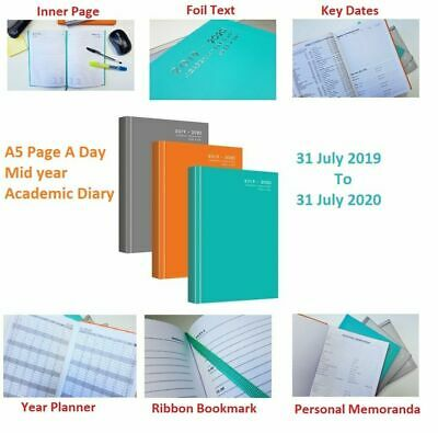 2019-2020 Academic A5 Diary Hardback Week to View Mid Year Teacher Student Diary