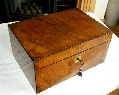 Lovely Antique Victorian Walnut Writing Slope + Secret Drawer + Key