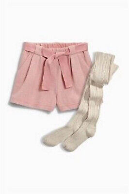 Next Girl's Pink Woven Wool Blend Shorts & Tights Set Age 11 Years BNWT Tag £22