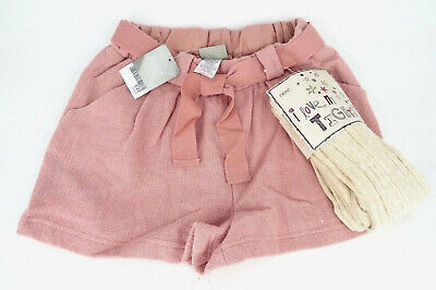 Next Girl's Pink Woven Wool Blend Shorts & Tights Set Age 12 Years BNWT Tag £22