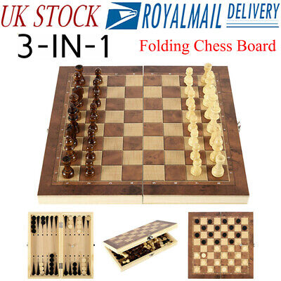 3 in1 Folding Wooden Chess Set Boards Game Checkers Backgammon Draughts Toy Kids