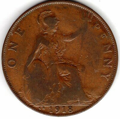 1918 KN (Kings Norton Mint Birmingham) One Penny King George V. Fine Condition