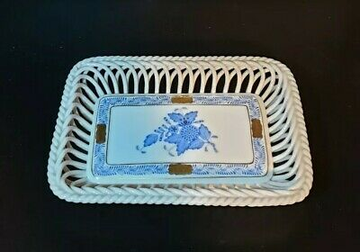 Herend Apponyi Blue Porcelain Basket weave Dish with Gilded Edge 7391/AB