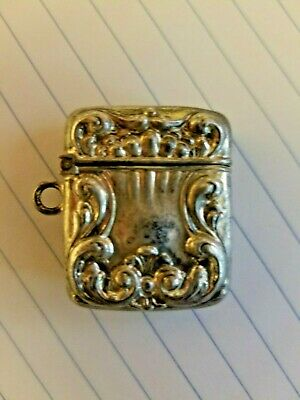 Sterling Postage Stamp Holder, Art Nouveau, Antique, ca 1900