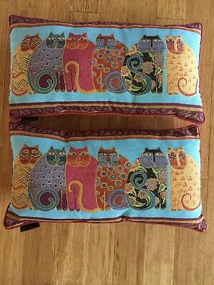 "Pair Of Laurel Burch 6 Cats Tapestry Pillows 23"" x 13"" Signed"
