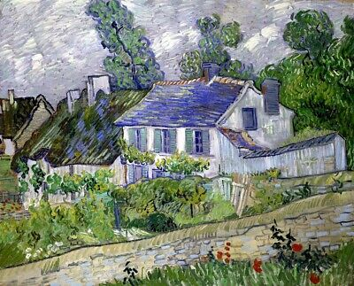 Stretched Canvas - Houses at Auvers Painting Vincent van Gogh Reproduction