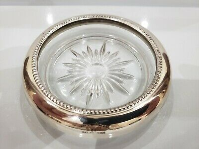 Vintage Frank Whiting Sterling Silver, Cut Crystal Candle /Dish,Coaster, Ashtray
