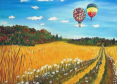 Aceo Print miniature artwork Autumn/Fall landscape with balloons, artist signed