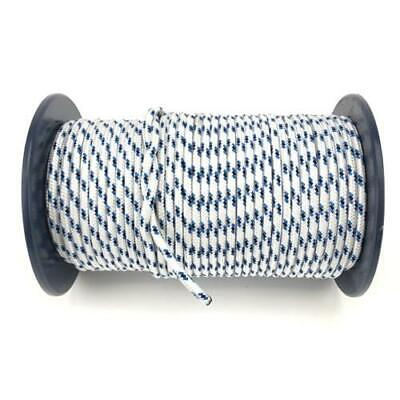 40m x 8mm White Blue Black Rope - Double Braid Polyester for Yacht Boat & Marine