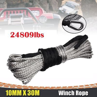 10mm x 30m Winch Rope Line Cable 24809 LBS Synthetic Heavy Duty Grey