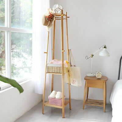 3 Layer 8 Hooks Shelf Clothes Coat Hat Rack Tree Stand Bamboo Hanger Organizer