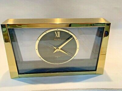 Nice Vintage SEIKO Brass and Smoked Glass Mantle Clock Model QQZ187G
