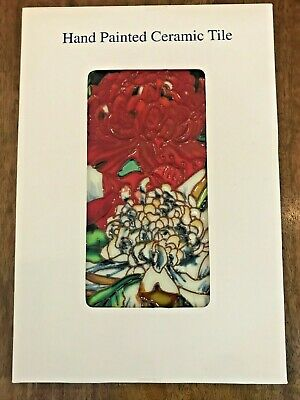 Beautiful Floral Hand Painted Ceramic Tile - NEW - 30cm x 20cm