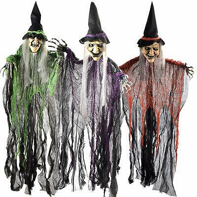 """Halloween Decorations 3 Wicked Creepy 35.3"""" Hanging Bendable Witches Yard Decor"""