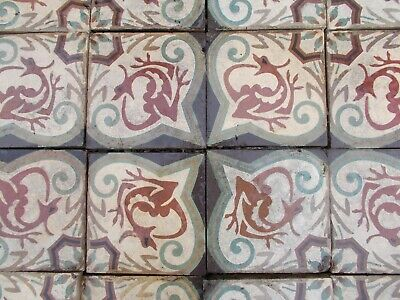 antique floor tiles,french encaustic tiles,Salamander/Crown design of Francois I