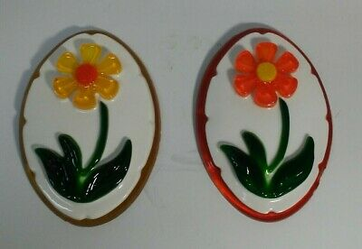 Pair of 1969 Lucite Flowers Wall Hangings New Designs Inc.