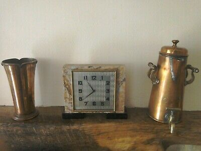 Antique Art Deco mantle clock with marble casing and lovely clock face