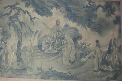 "Very Large Long Old Chinese Scroll Hand Painting ""DaMo"" Monks Marks"