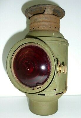 Antique Dietz Kerosene Military Truck Tail Lamp Lantern Light Red Lens WWI