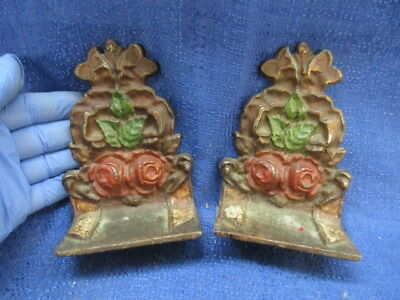 Antique 1920s Cast Iron Bookends with Original Paint Roses