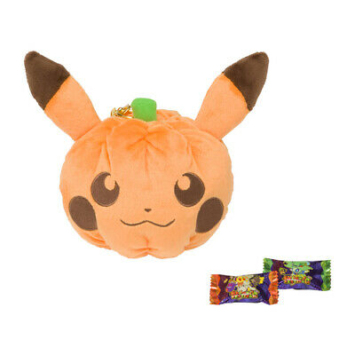 Pokemon Center Halloween Festival Pumpkin Pikachu Pluch pouch case with candy