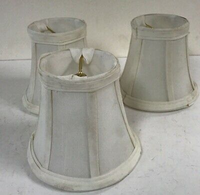 Antique matching set 4 white cloth fabric ceiling fixture clip on lamp shades