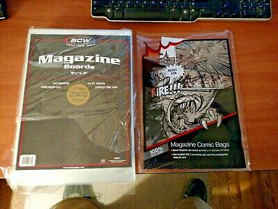 """10 loose - BCW 8 1/2"""" Magazine Backing Backer Boards &  2mil Bags"""
