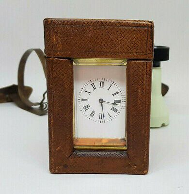 Rare Miniature French Carriage Clock With Case