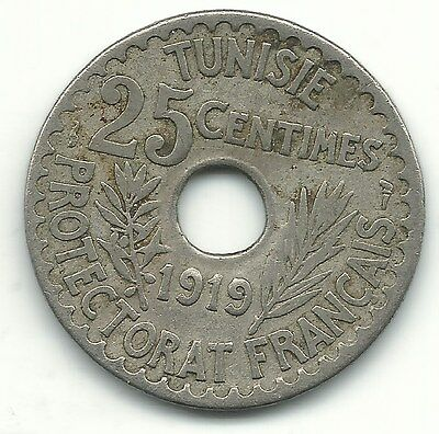 A Very Nice- 1919 Tunisia 25 Centimes Coin-May826