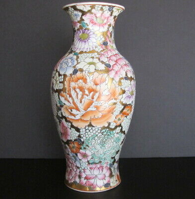 """Vintage Chinese Mille Fluers Gilt Porcelain Vase Hand Painted 12"""" tall"""