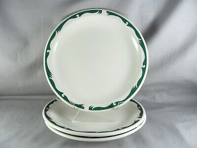 """3 Homer Laughlin Best China Green Crest Wave Luncheon Plates, 8-7/8"""", HLC918"""