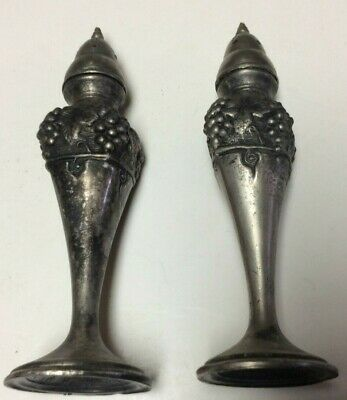 Antique Monarch Brand salt pepper shakers,silver plate lead M125,very old   T731
