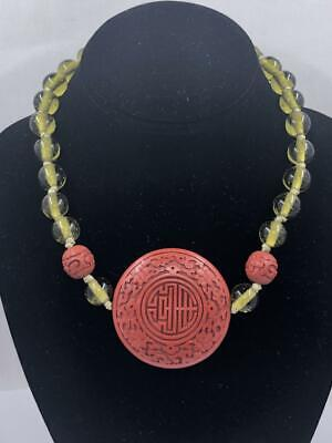 Antique Chinese Necklace Carved Cinnabar Center Hand Knotted Blown Glass Beads