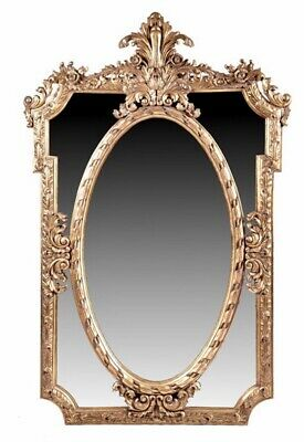 Large Antique French Gilt Wood Wall Mirror Rococo Style