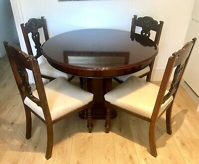 Antique Mahogany Extending Dining Table And 4 Chairs In Lather Upholstery
